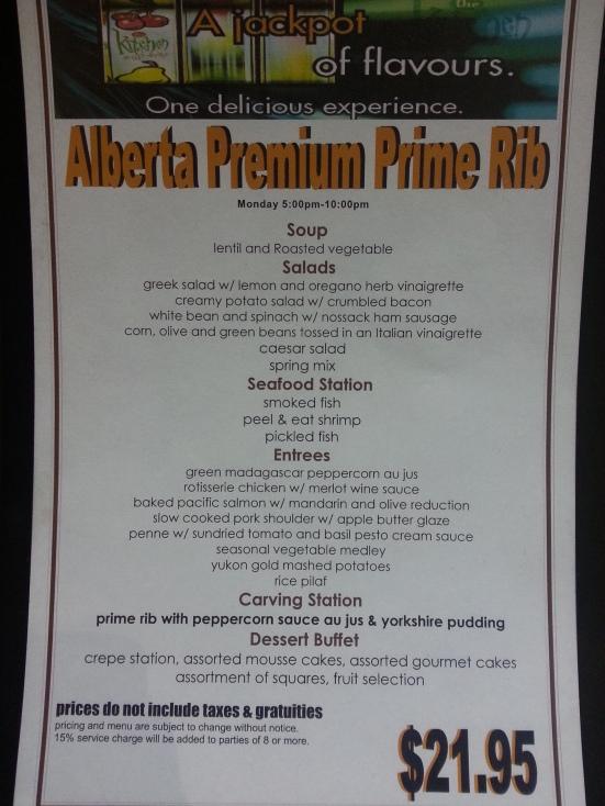 Kitchen Bistro - Prime Rib Menu